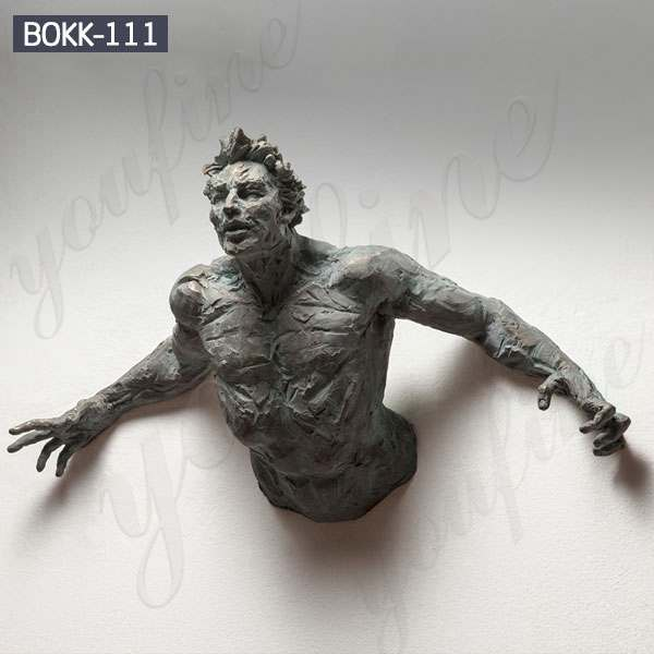 Casting Bronze Matteo Pugliese Sculpture That Emerge from Walls