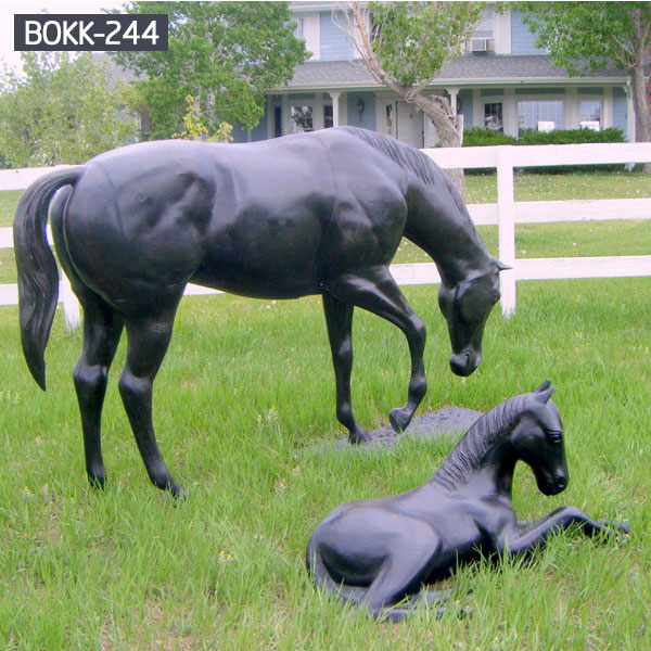 Bronze horse mare and foal lawn art statue for sale