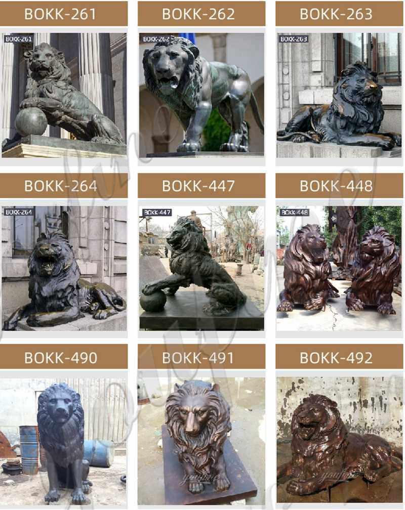 High Quality Antique Bronze Lion Statue for Front Porch Supplier