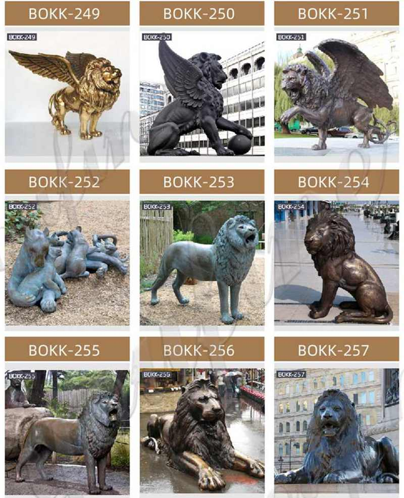 Outdoor Bronze Flying Lion Statue with A ball for Sale