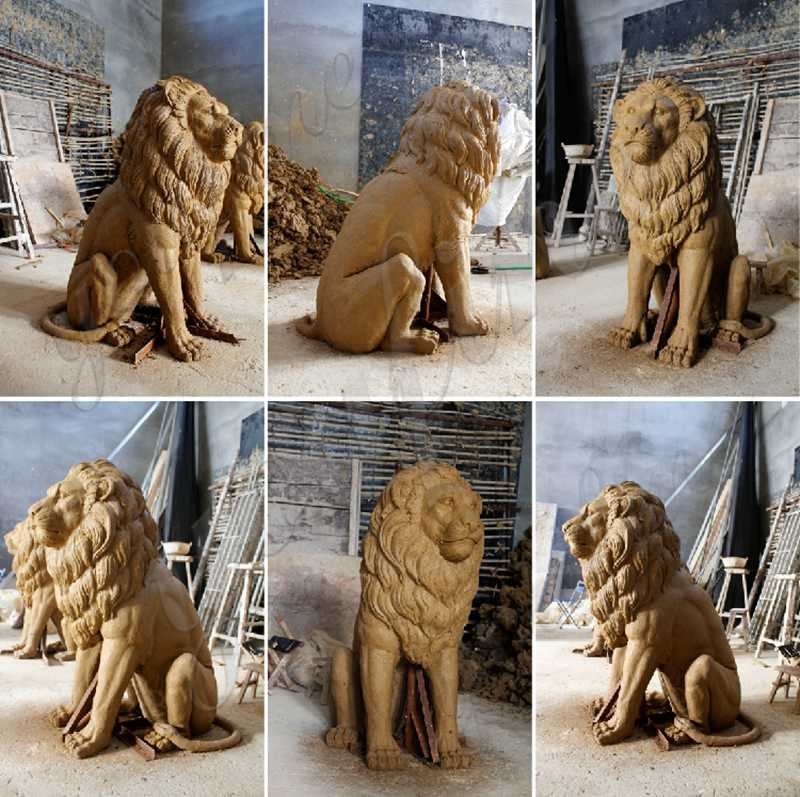 Outdoor Bronze Lion Statue for Front Porch