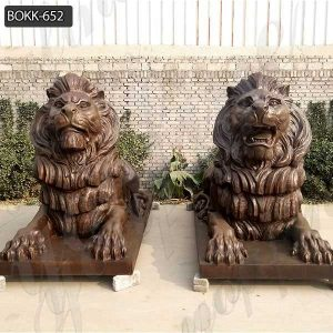 High Quality Antique Bronze Lion Statue for Front Porch Supplier BOKK-652