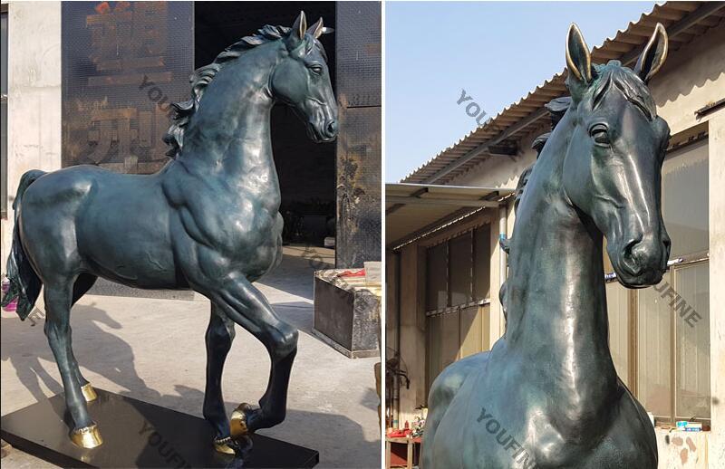 Hot cast bronze standing horse art sculpture design for sale