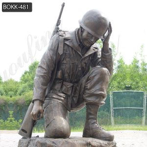 Casting Bronze Life Size Kneeling Soldier Statue for Sale BOKK-481