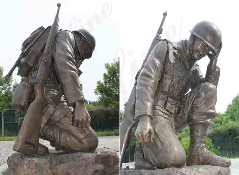 Casting bronze war garden statue life size kneeling soldier heavy cast sculptures monument for sale