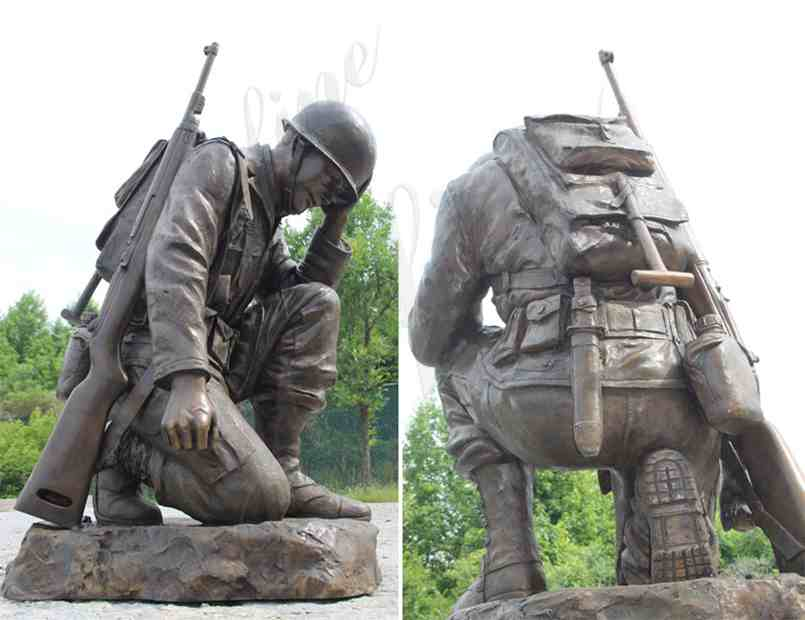 Casting bronze war garden statue life size kneeling soldier heavy sculpture monument for sale