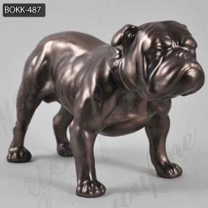 Life Size Antique Bronze Bulldog Statue Lawn Ornament Supplier BOKK-487