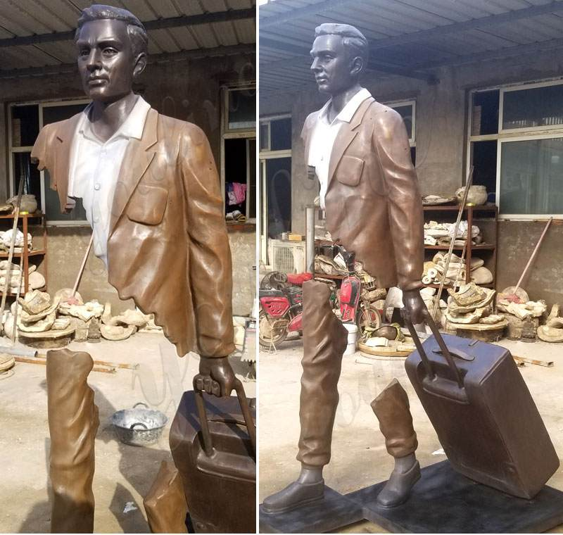 Life Size Bronze Traveler Statue for Sale