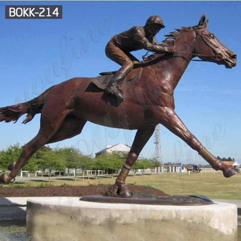 Life Size Custom Made Bronze Racing Horse with Jockey Statue Design Horse Garden Sculpture