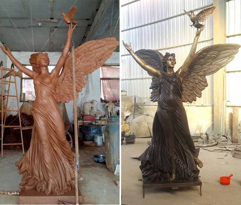 Life size outdoor garden angel statues with peace dove