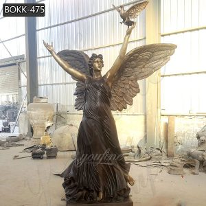 Outdoor Bronze Angel Garden Statue with Dove Design for Sale BOKK-475