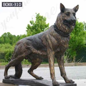 Outdoor Casting Bronze German Shepherd Statue for Sale BOKK-310