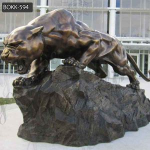 Good Price Large Outdoor Leopard Bronze Statue on Stock BOKK-594