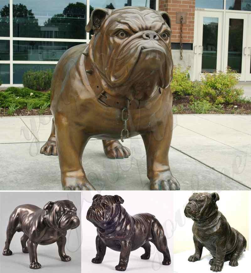 outdoor bronze bulldog statue lawn ornament