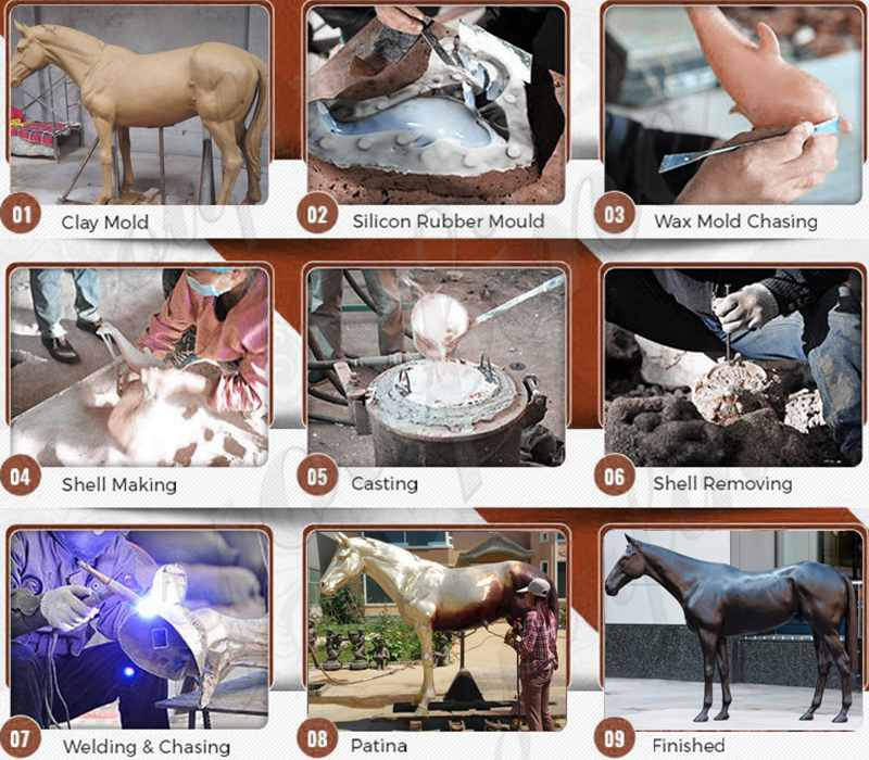 processing of bronze horse statues