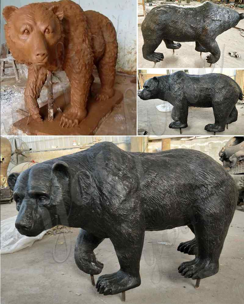 Life Size Bronze Bear Statue for Garden Decoration Supplier