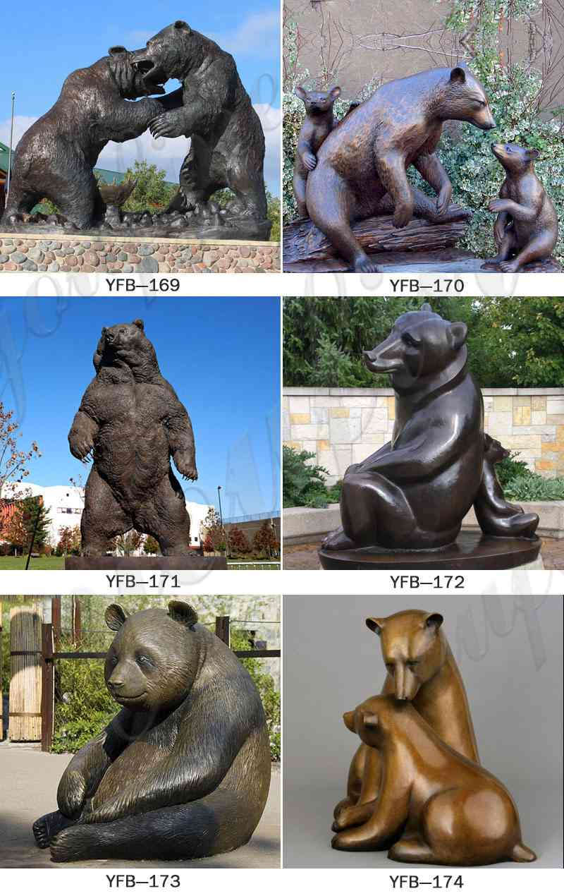 Outdoor Life Size Bronze Bear Statue