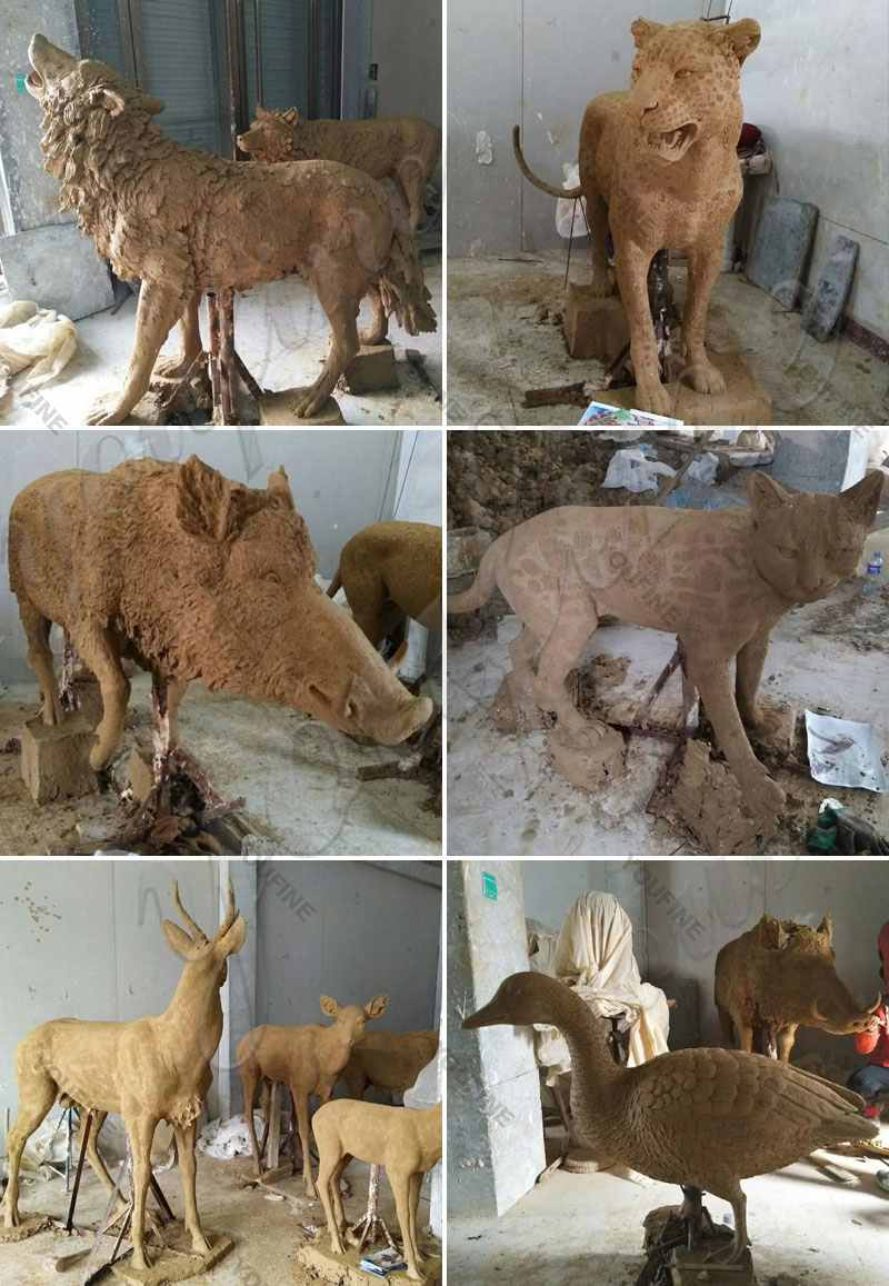 Clay-model-of-Life Size Bronze Deer Statue for Sale