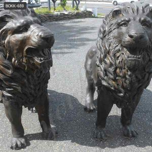 Custom Made Outdoor Life size bronze Lion Statue Supplier BOKK-659