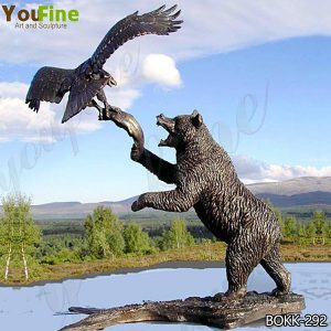 Large Cast Bronze Bear Reaching for Eagle Statue for Sale BOKK-292
