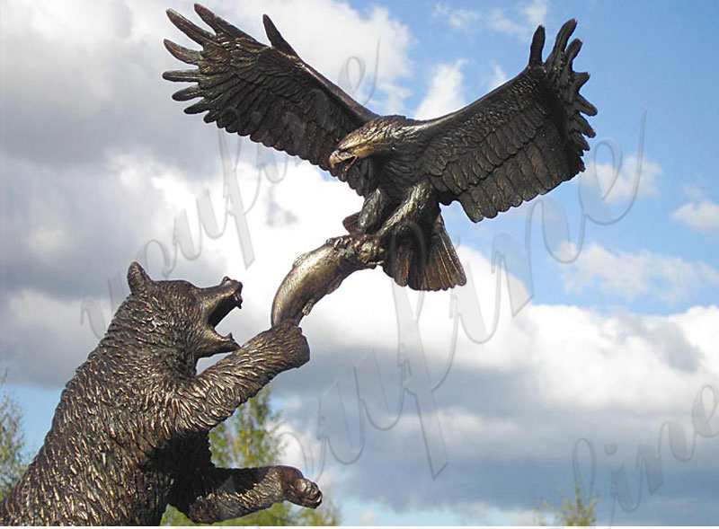 Large Cast Bronze Bear Reaching for Eagle Statue
