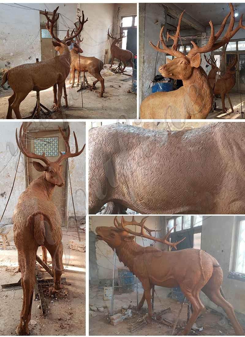 Life Size Bronze Doe and Little Deer Garden Ornament Sculpture