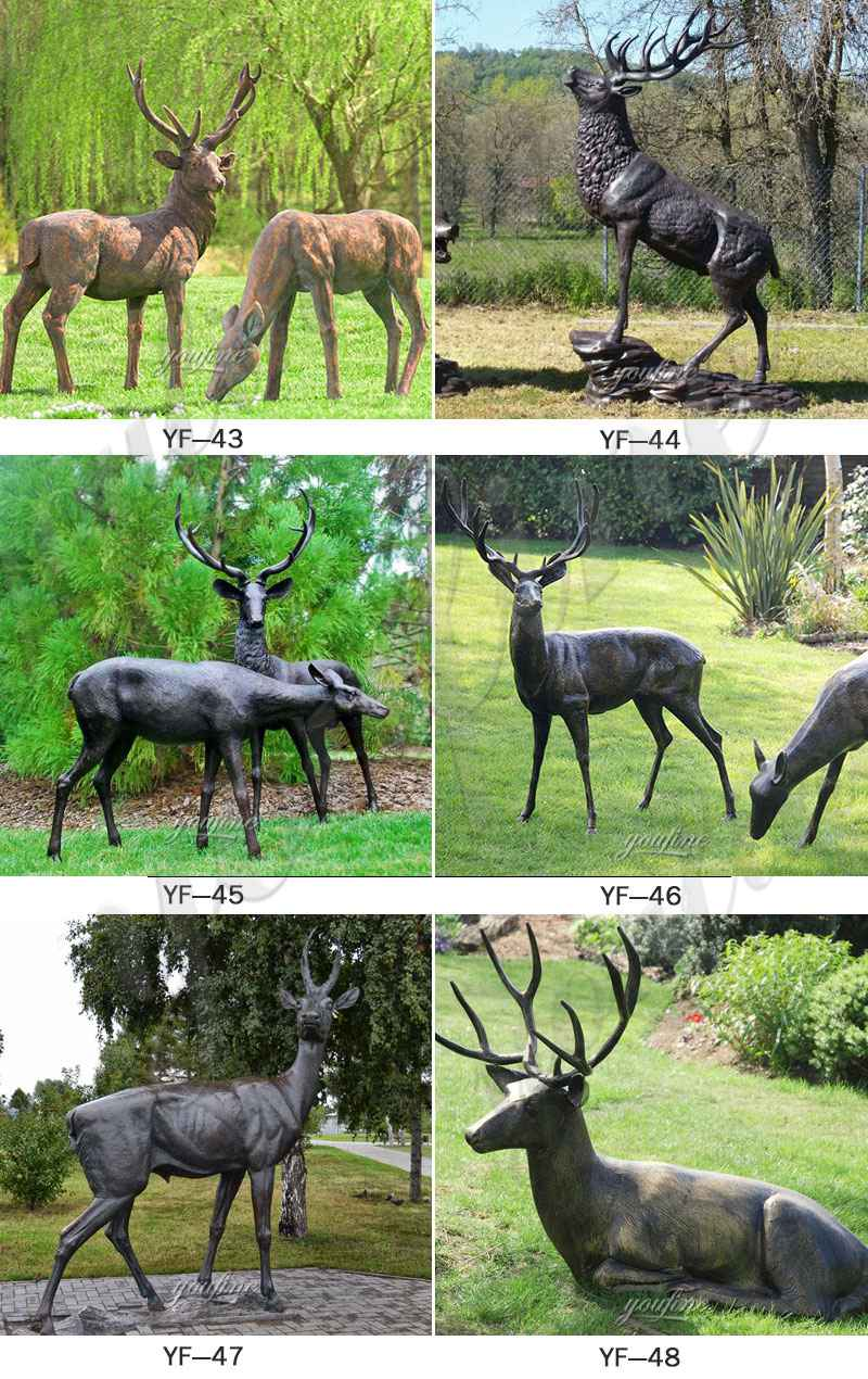antique bronze stag statue for sale