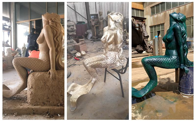 large bronze mermaid statue
