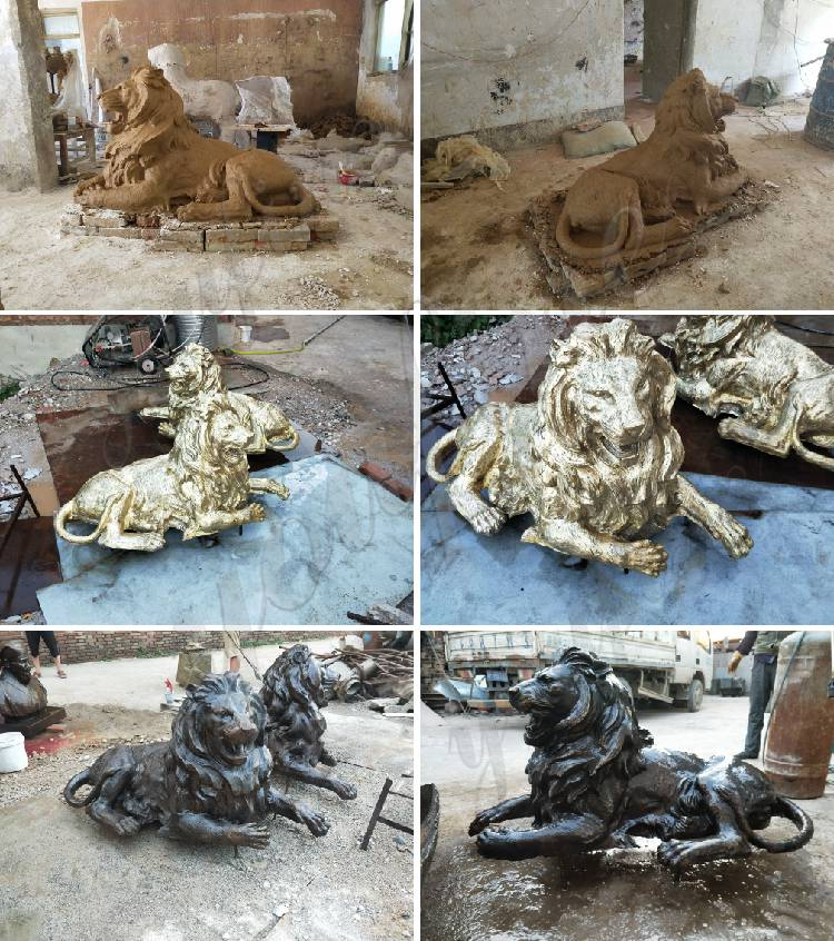Bronze Walking Winged Lion Statue