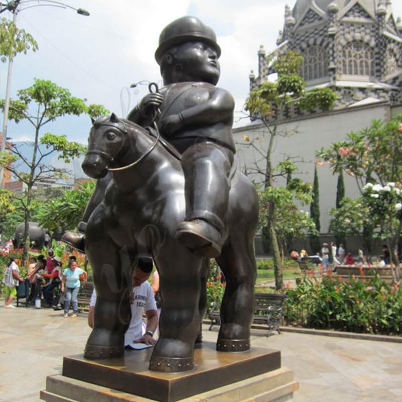 Fernando Botero Bronze Man on Horse Sculpture Supplier
