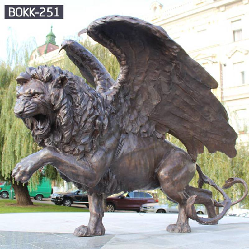 Large Bronze Walking Winged Lion Statue for Sale