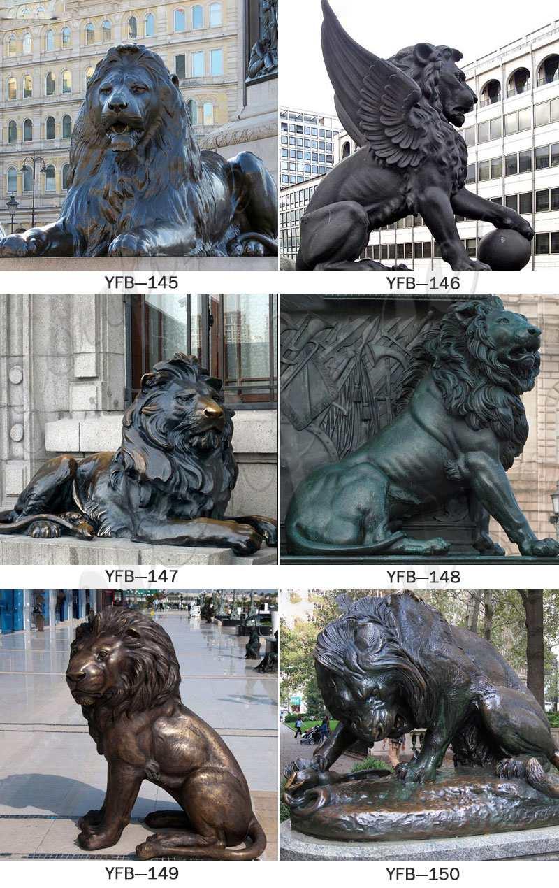Large Bronze Walking Winged Lion Statue