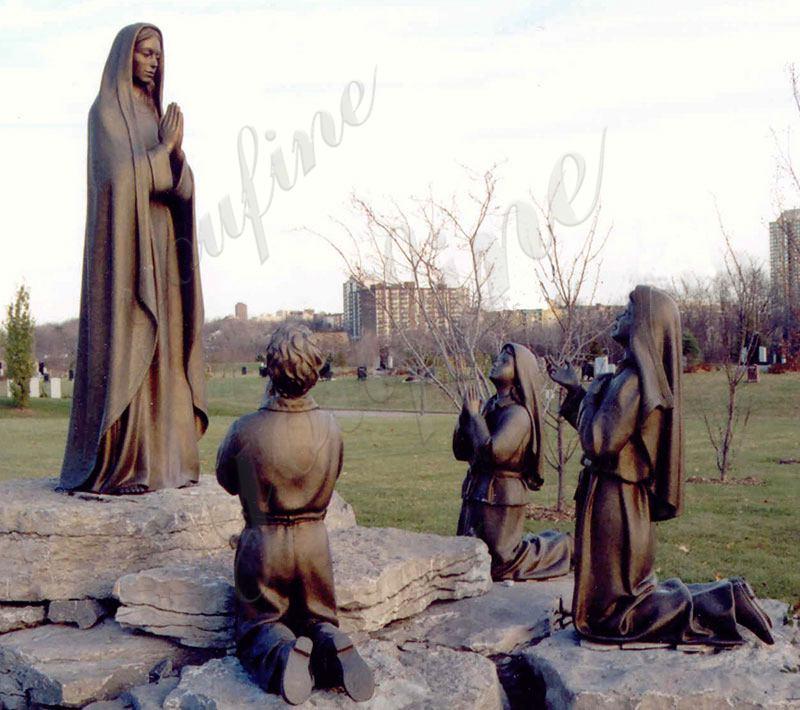 Religious Bronze Fatima and Three Children Statue
