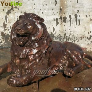 Western Bronze Guard Lion Sculpture for Home Decor Wholesale BOKK-492
