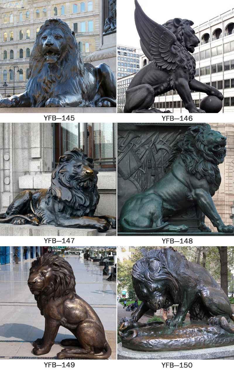 Antique Bronze Guardian Lion Statue for Sale