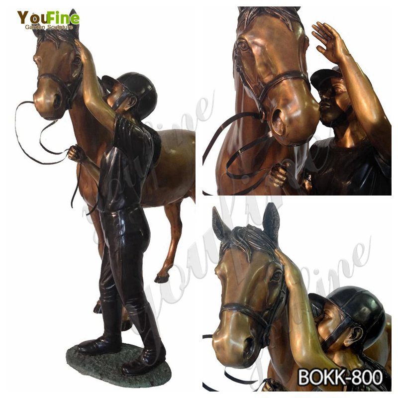 Antique Bronze Horse and Knight Statue