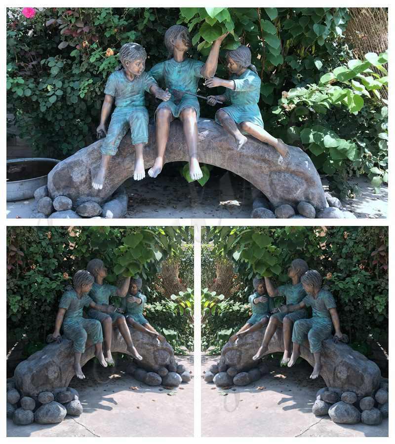 Bronze Children Garden Statue