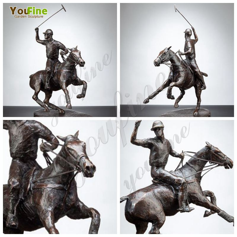 Bronze Polo Player on Horse Statue