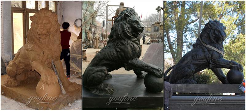OutdoorGuardian Bronze Lion with Ball Statue for Sale
