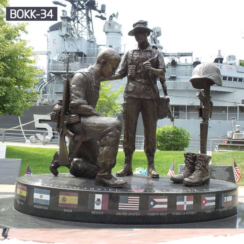 Bronze Memorial Soldier Statue for Outdoor Garden Decor Supplier BOKK-34