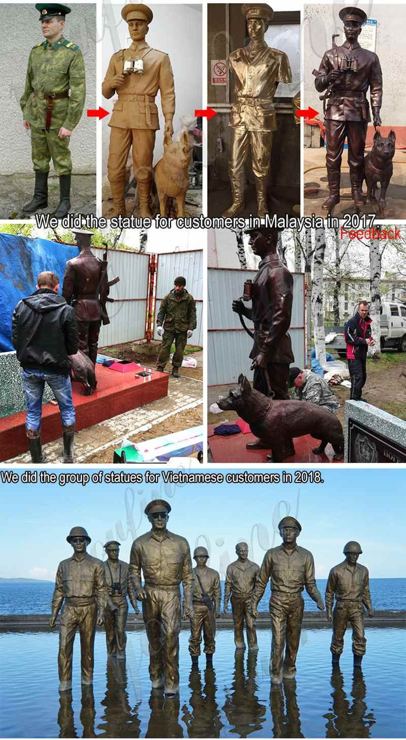 Bronze Memorial Soldier Statue for Outdoor Garden Decor