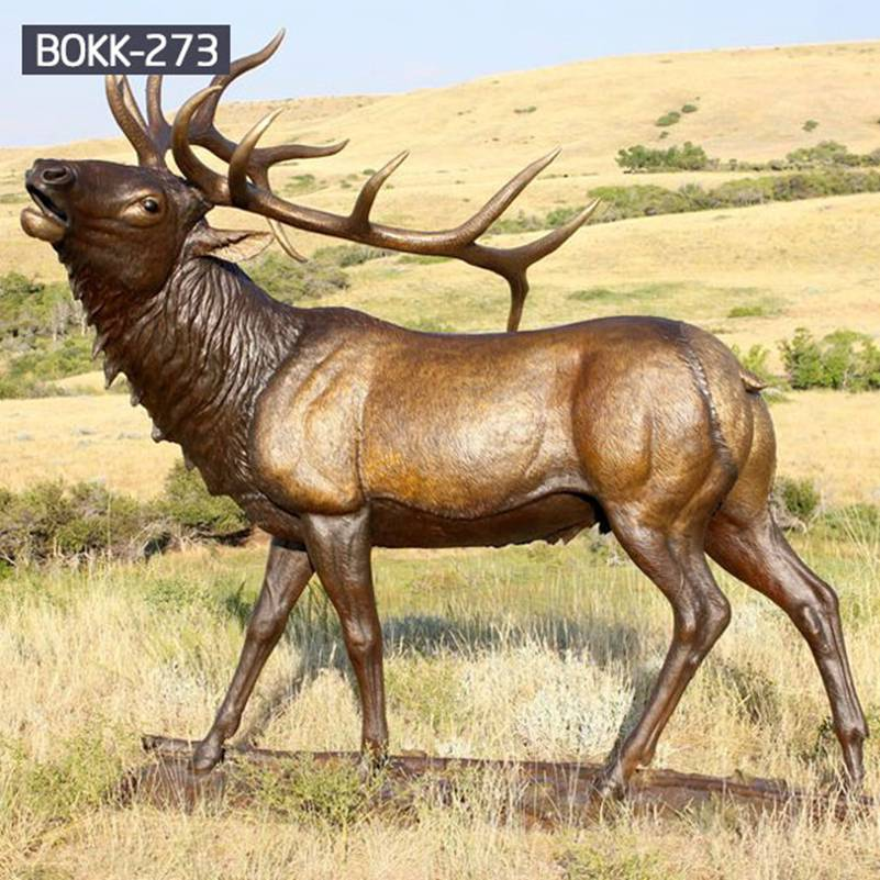 Buy Full Size Bronze Elk Statue for Garden Decor Supplier