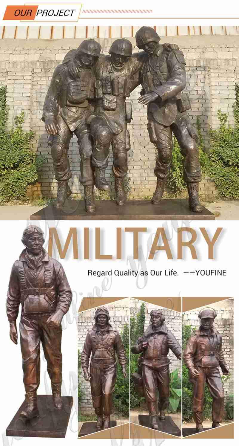 Custom Made Sgt. Dan Brown Bronze Soldier Statue with Children