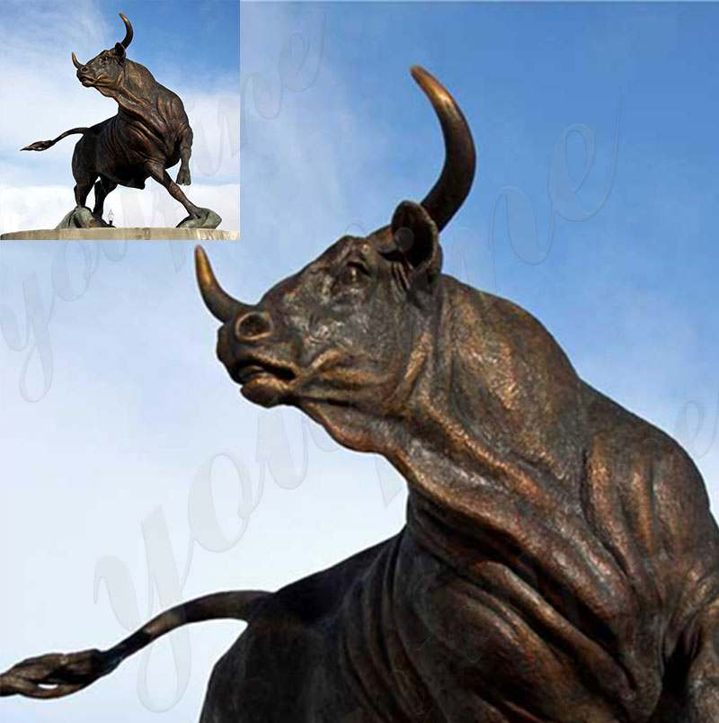 Life Size Cast Bronze Bull Sculpture for Large Stock