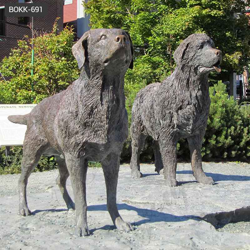 Antique Black Bronze Newfoundland Dog Statue Manufacturers