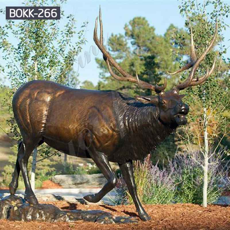 Antique Bronze Metal Elk Outdoor Deer Statue on Sale