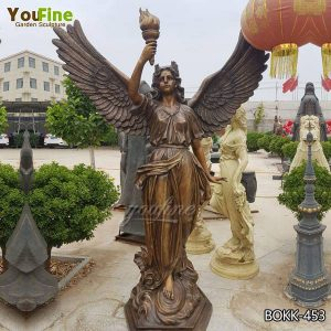 Antique Large Bronze Angel with Torch Statue for Sale BOKK-453