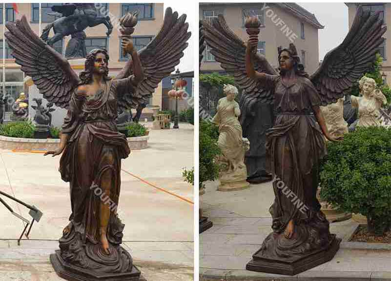 Antique life size bronze large angel statue with torch design