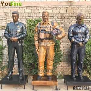 Custom Life Size Bronze Officer Firefighter EMS Statues from Factory Supply BOKK-821