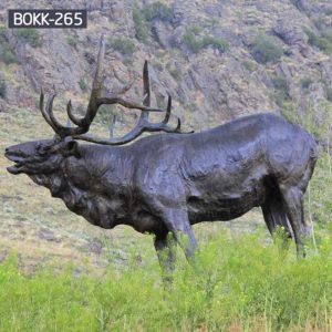 Custom Life Size Bronze Elk Outdoor Statue Suppliers BOKK-265